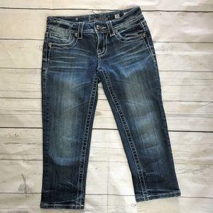 Miss Me | Blinged Dark Wash Capri Jeans